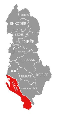 Vlore red highlighted in map of Albania