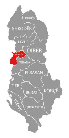 Durres red highlighted in map of Albania