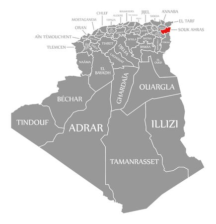 Souk Ahras red highlighted in map of Algeria 일러스트