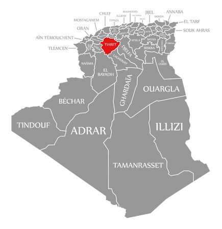 Tiaret red highlighted in map of Algeria