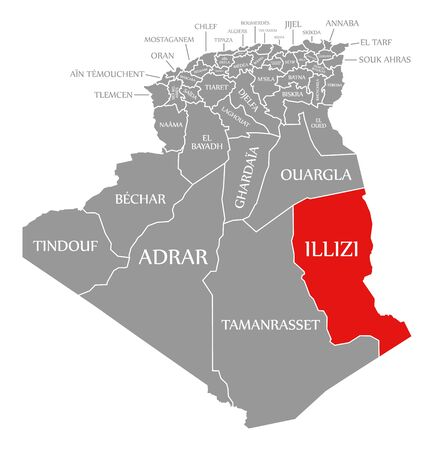 Illizi red highlighted in map of Algeria