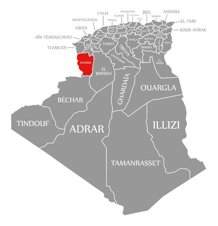 Naama red highlighted in map of Algeria