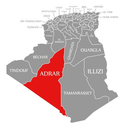 Adrar red highlighted in map of Algeria