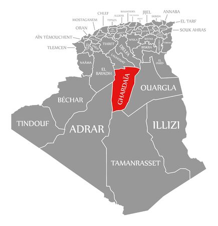 Ghardaia red highlighted in map of Algeria