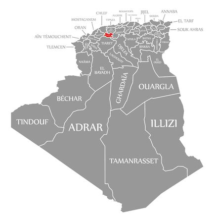 Tissemsilt red highlighted in map of Algeria