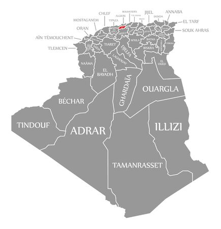 Blida red highlighted in map of Algeria 일러스트