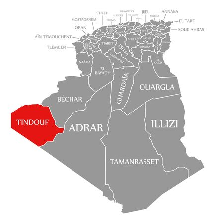 Tindouf red highlighted in map of Algeria