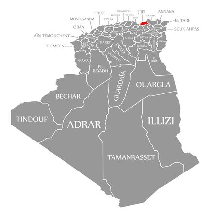 Jijel red highlighted in map of Algeria