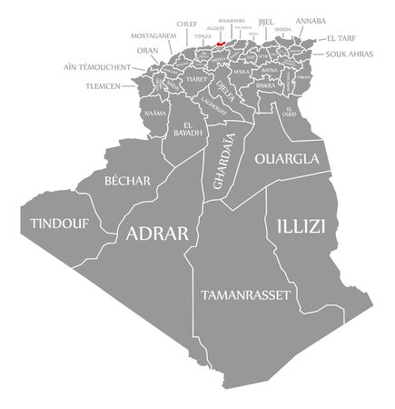 Algiers red highlighted in map of Algeria 일러스트