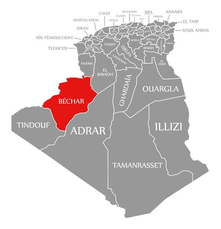 Bechar red highlighted in map of Algeria 일러스트
