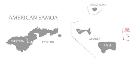 Rose Atoll red highlighted in map of American Samoa Islands