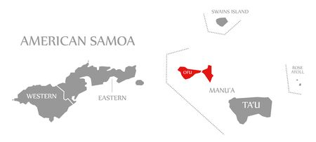 Ofu Island red highlighted in map of American Samoa Islands