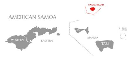 Swains Island red highlighted in map of American Samoa Islands 스톡 콘텐츠