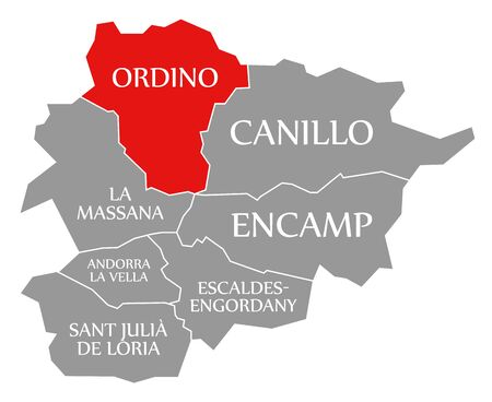 Ordino red highlighted in map of Andorra