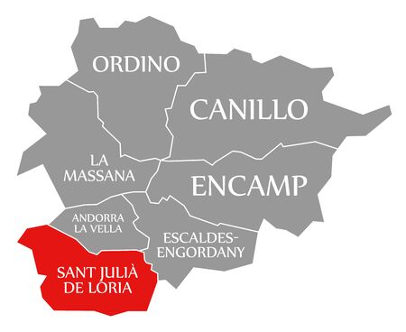 Sant Julia De Loria red highlighted in map of Andorra