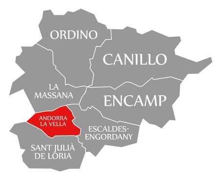 Andorra La Vella red highlighted in map of Andorra