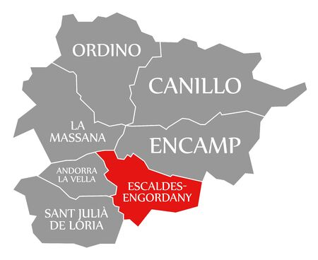 Escaldes Engordany red highlighted in map of Andorra 스톡 콘텐츠