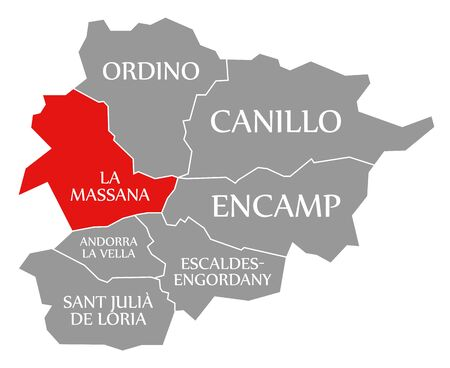 La Massana red highlighted in map of Andorra 스톡 콘텐츠