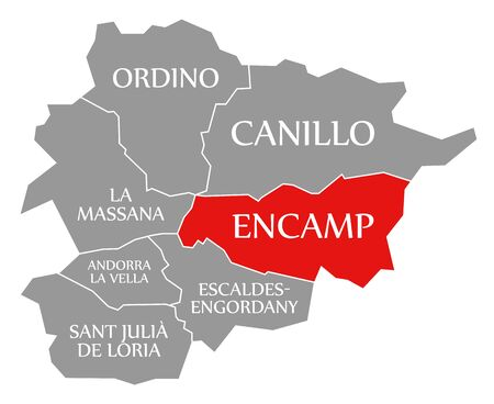 Encamp red highlighted in map of Andorra 스톡 콘텐츠