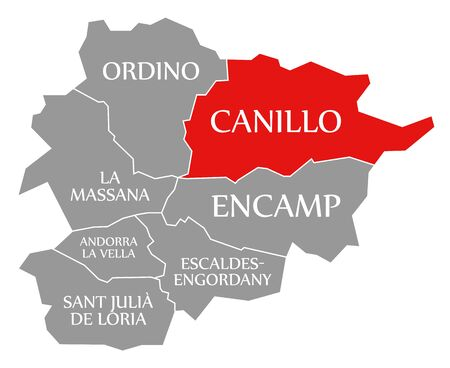 Canillo red highlighted in map of Andorra