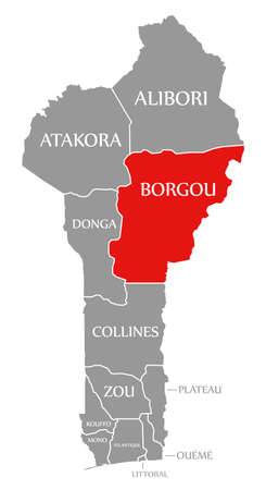 Borgou red highlighted in map of Benin 免版税图像
