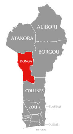 Donga red highlighted in map of Benin 免版税图像