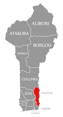 Plateau red highlighted in map of Benin 免版税图像 - 150633235