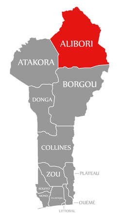 Alibori red highlighted in map of Benin