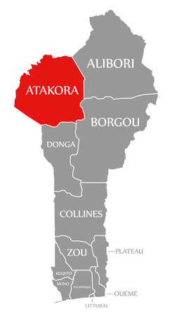 Atakora red highlighted in map of Benin 免版税图像