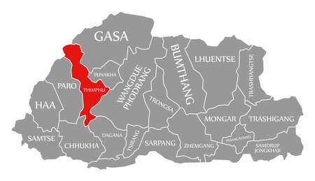 Thimphu red highlighted in map of Bhutan 免版税图像 - 151195023