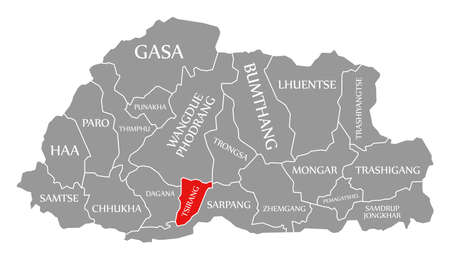 Tsirang red highlighted in map of Bhutan