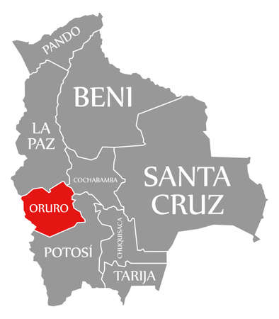 Oruro red highlighted in map of Bolivia