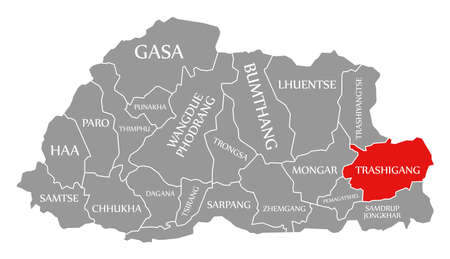 Trashigang red highlighted in map of Bhutan