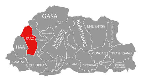 Paro red highlighted in map of Bhutan