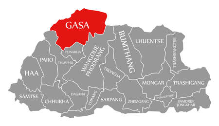 Gasa red highlighted in map of Bhutan