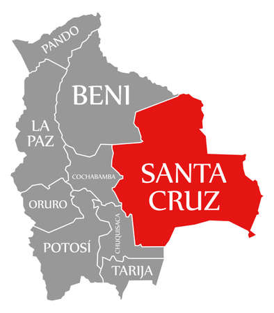 Santa Cruz red highlighted in map of Bolivia 免版税图像