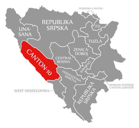 Canton 10 red highlighted in map of Bosnia and Herzegovina