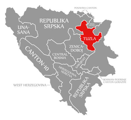 Tuzla red highlighted in map of Bosnia and Herzegovina 免版税图像 - 151195039