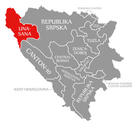Una Sana red highlighted in map of Bosnia and Herzegovina