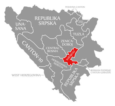 Sarajevo red highlighted in map of Bosnia and Herzegovina