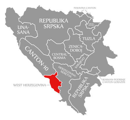 West Herzegovina red highlighted in map of Bosnia and Herzegovina