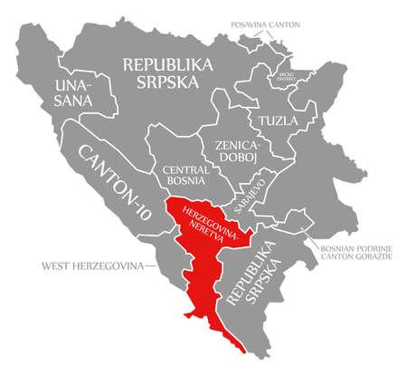Herzegovina Neretva red highlighted in map of Bosnia and Herzegovina