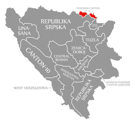 Posavina Canton red highlighted in map of Bosnia and Herzegovina