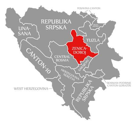 Zenica Doboj red highlighted in map of Bosnia and Herzegovina