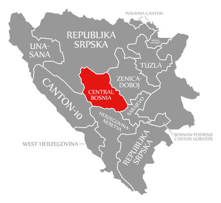 Central Bosnia red highlighted in map of Bosnia and Herzegovina