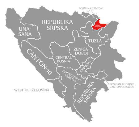 Brcko district red highlighted in map of Bosnia and Herzegovina