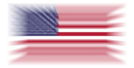 USA flag with 3D blur effect isolated on white background