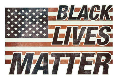 BLACK LIVES MATTER on American national flag illustration 免版税图像