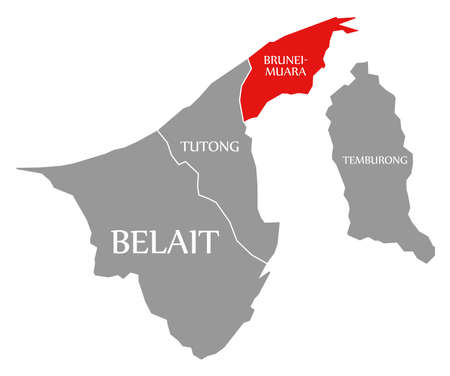 Belait red highlighted in map of Brunei 免版税图像