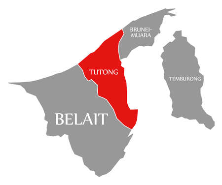 Belait red highlighted in map of Brunei Reklamní fotografie